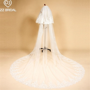 ZZ Bridal ivory lace edge two layers bridal wedding veil with comb