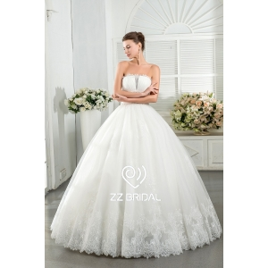 ZZ bridal 2017 strapless ruffled lace appliqued ball gown wedding dress