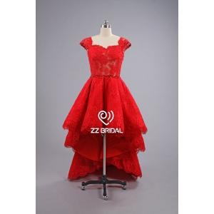 66ddb59a6e ... ZZ Suknie ślubne krótki przedni długi tył cap-line rękaw czerwona suknia  wieczorowa ...