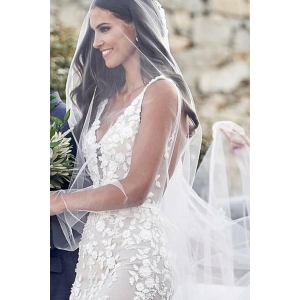 best deap v neck and backless mermaid gown bohemian hmy wedding dress