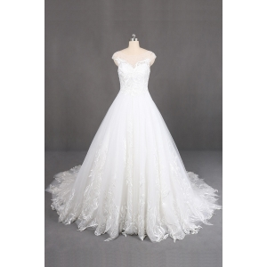 ivory long train wedding gowns with handmade lace applique capshoulder wedding dress