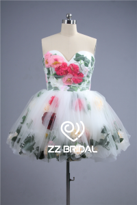 China 2016 latest trendy under tulle flowers and leaves short evening dress factory