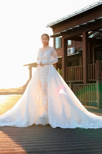 China 2019 latest design wedding dress bridal gown ivory vestido de noiva with detachable train factory