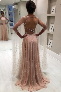 China 2019 new design Beaded Evening Dresses Long Sleeve Ladies casual Dresses factory