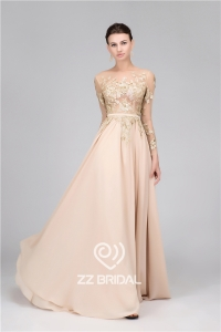 China A-Line sequined long sleeve belt nude long evening dress made in China factory