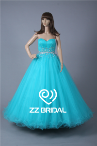 China Actual images beaded sweetheart floor length blue ball gown quinceanera dress factory