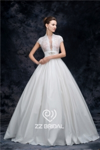 China Actual images high neck cap sleeve beaded see-through princess wedding dress china supplier factory