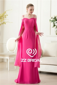 China Actual images spaghetti strap  red rose chiffon evening dress with shawl factory