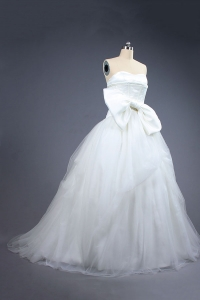 China Ball gown wedding party dress sweetheart tulle wedding dress with bowknot factory