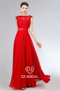 China Bright red chiffon beaded scoop neckline cap sleeve v-back long evening dress supplier factory