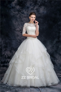 China Charming half sleeve illusion neckline full length organza princess wedding dress  manufacturer factory