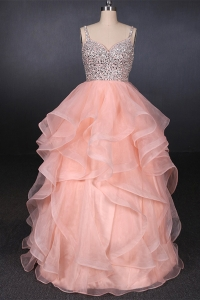 China China Suzhou Wedding Supplier Sweetheart Beadings Organza Sequins Ruffles Pink Wedding Dress Bridal Gown factory