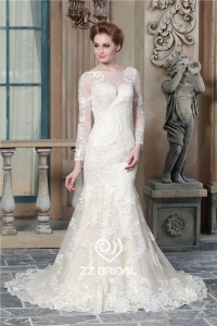 China Long Sleeve Lace Appliqued See Through Back Mermaid Wedding Dress Supplier Factory