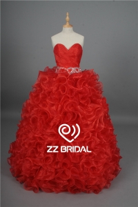 China China new arrival ruffled beaded sweetheart neckline red prom gown factory
