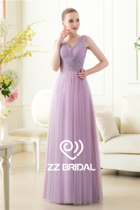 China China new arrival v-neck and v-back ruffled beaded light purple long evening gown factory