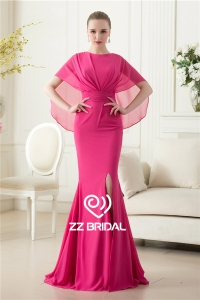China China supplier side split chiffon mermaid long rose red evening dress with shawl factory