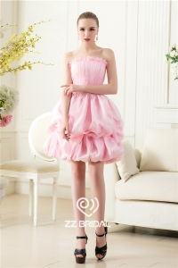 China Cute strapless ruffled pearls pink ball gown short evening dress manufacturer factory