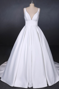 China Elegant Deep V Neck Backless Sheer Real Image Simple Wedding Dresses Ruffled Satin Bridal Gowns factory