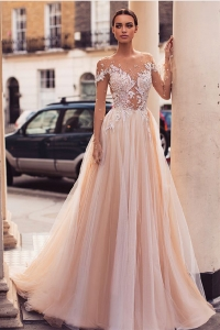 China Elegant Vestido De Lace Champagne Long Sleeve Illusion Wedding Dress A Line Bridal Gowns 2019 factory