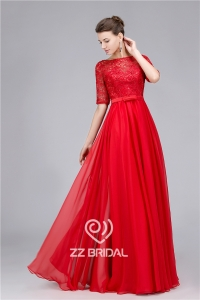 China Elegant beaded guipure lace half sleeve red long evening dress made in China factory