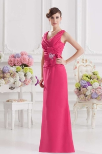 China Elegant beaded long chiffon pink gown bridesmaids dress elegant factory