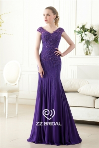 China Elegant cap sleeve beaded sequined v-back mermaid purple long evening dress supplier factory