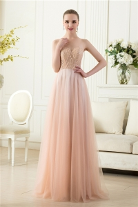 China Elegant invisible tulle sleeveless beaded floor length nude long evening dress factory factory