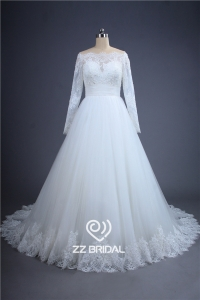 China Elegant long sleeve beaded see through back lace bottom wedding dress China factory