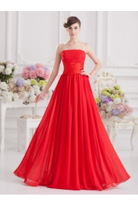 الصين مصنع Elegant sleeveless red long chiffon evening dress