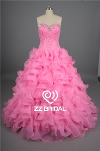 China Girl dress organza layered sweetheart neckline beaded pink prom dress supplier factory