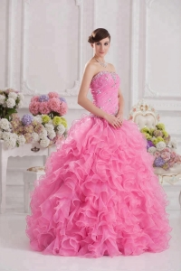 China Heavy Beading Pink Ball Gown Quinceanera Prom Dress factory