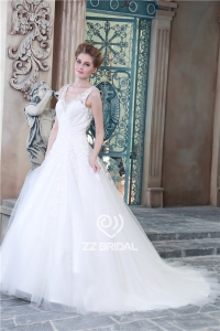 China High custom made v-neck sash with beadings backless a-line wedding dress made in China factory