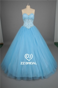 China High end girls party dress ruffled beaded lace-up blue quinceanera dress factory