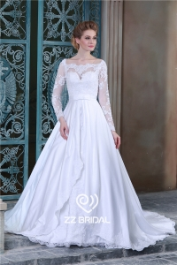 China High end long sleeve appliqued lace bodice a-line wedding gown from China factory