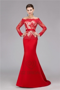 China High quality long sleeve off shoulder beaded long red mermaid evening dress supplier factory