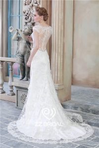 China Hot online v-neck see through back cap sleeve lace bottom mermaid wedding dress factory