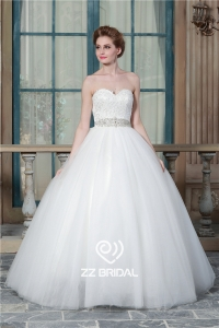 China Hot sale sweetheart neckline beaded lace ball gown bridal dress 2016 manufacturer factory