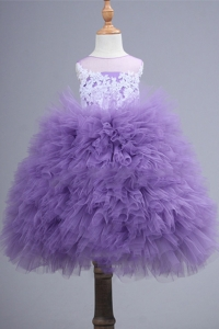 China Latest Design Little Girls Puffy Dress Princess Light Purple Flower Girl Dresses HMY-FL026 factory