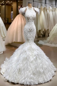 China Latest Design Luxury Mermaid Sexy Long Train Vestido De Novia wedding dress ball gown-Fabrik