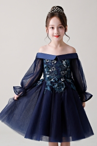 China Latest design princess off shoulder dark blue baby girls dress 3-8 Y design factory