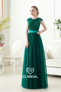 China Luxurious short sleeve o-neck sequined beaded dark green long evening gown China factory