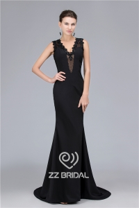 China Mermaid style sexy lace V-neck see through back evening dress 2016 factory