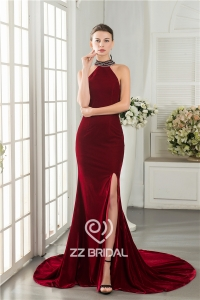 China Mermaid style side split halter chain back burgundy long evening dress factory factory