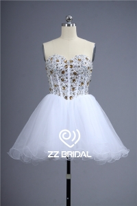 China Mini skirt full bodice beaded diamonds lace-up cute girl dress China factory