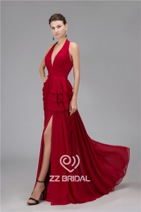 China Most fashionable V-neck halter ruffled clare-red long evening gown manufacturer factory