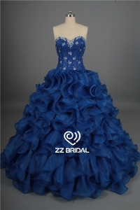 China New arrival beaded sweetheart neckline royal blue ball gown quinceanera dress supplier factory