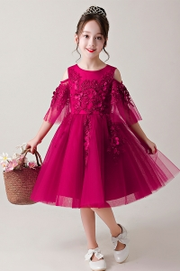 China New design children frocks princess beaded embroidery puffy sleeve baby girls dress for 2-12 years old factory