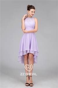 China New style sleeveless beaded purple chiffon knee length evening dress for party factory