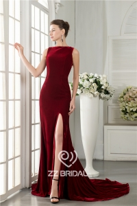 China New style velvet sleeveless back bowknot side split mermaid long evening dress factory