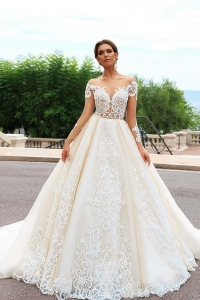 547e949e9 China OEM long tail wedding dresses wedding dress Luxurious vestido de  noiva with sleeve factory